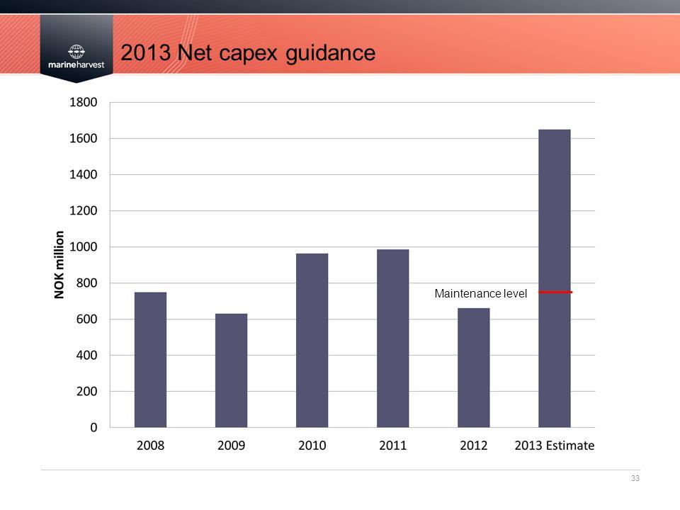 2013 Net capex guidance Maintenance level