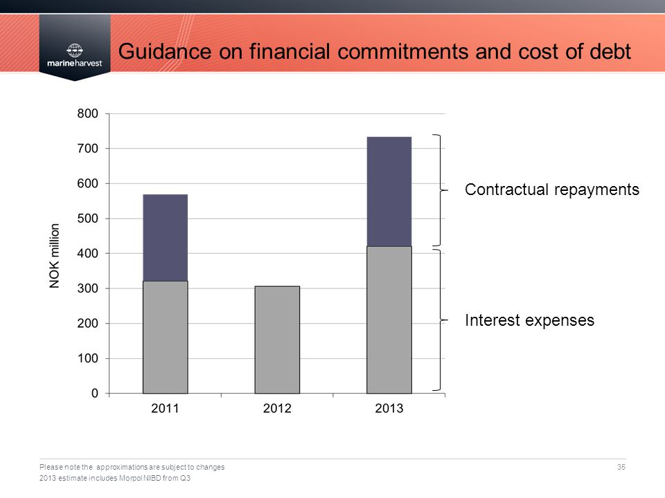 Guidance on financial commitments and cost of debt