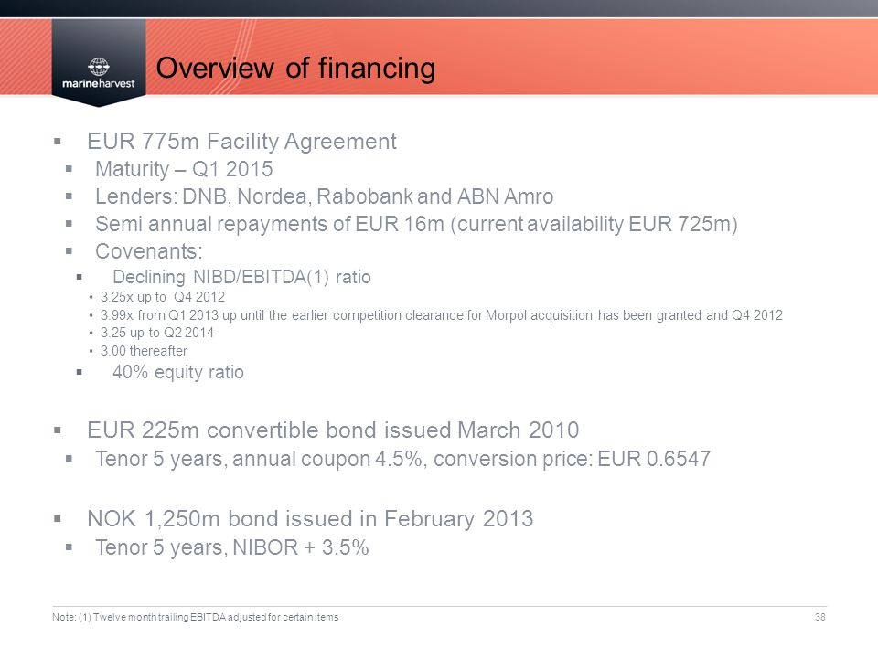 Overview of financing EUR 775m Facility Agreement