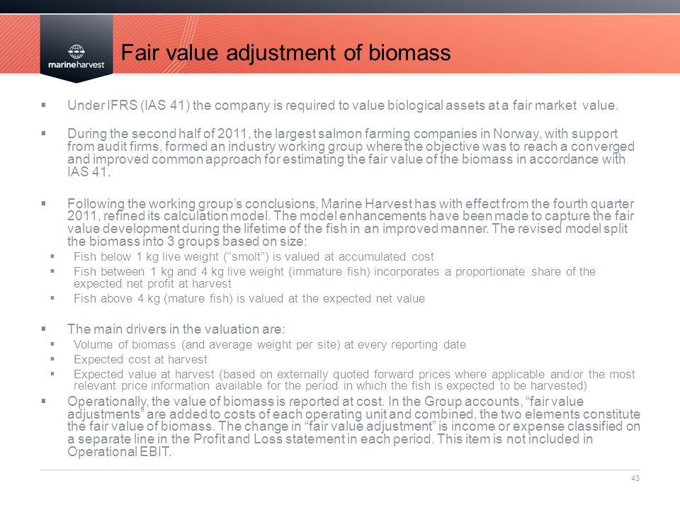 Fair value adjustment of biomass