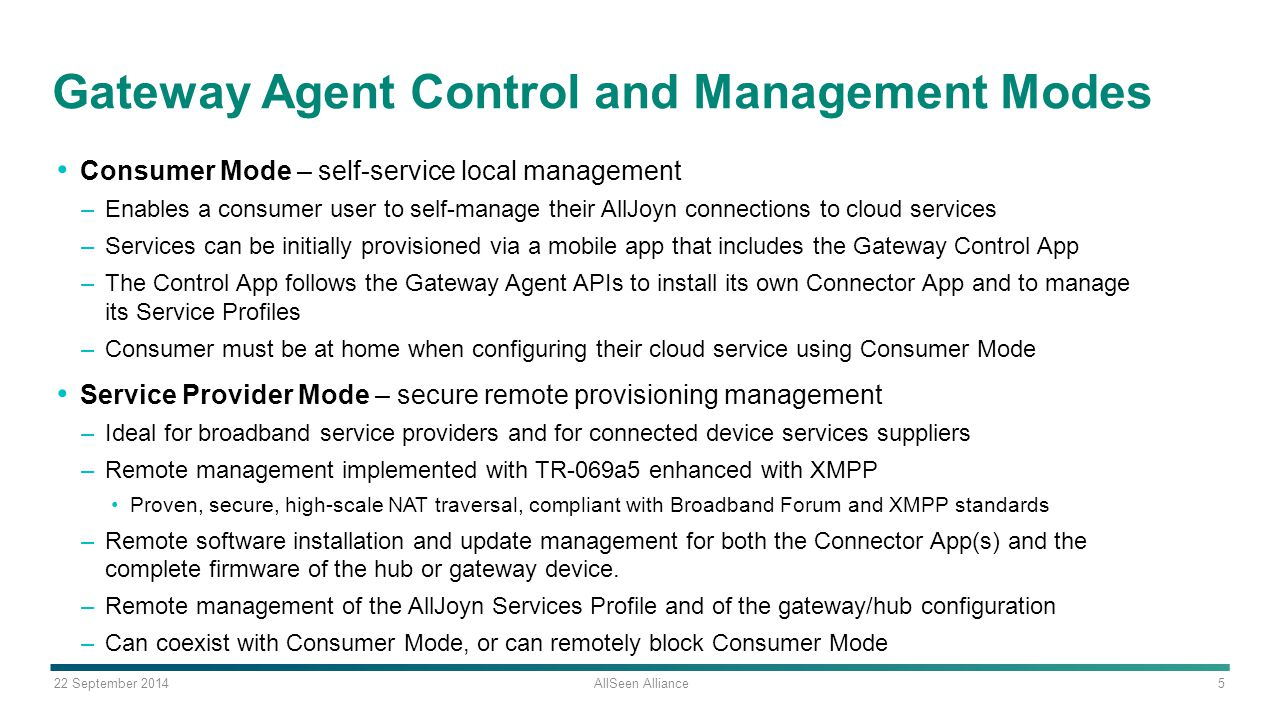 Gateway Agent Control and Management Modes