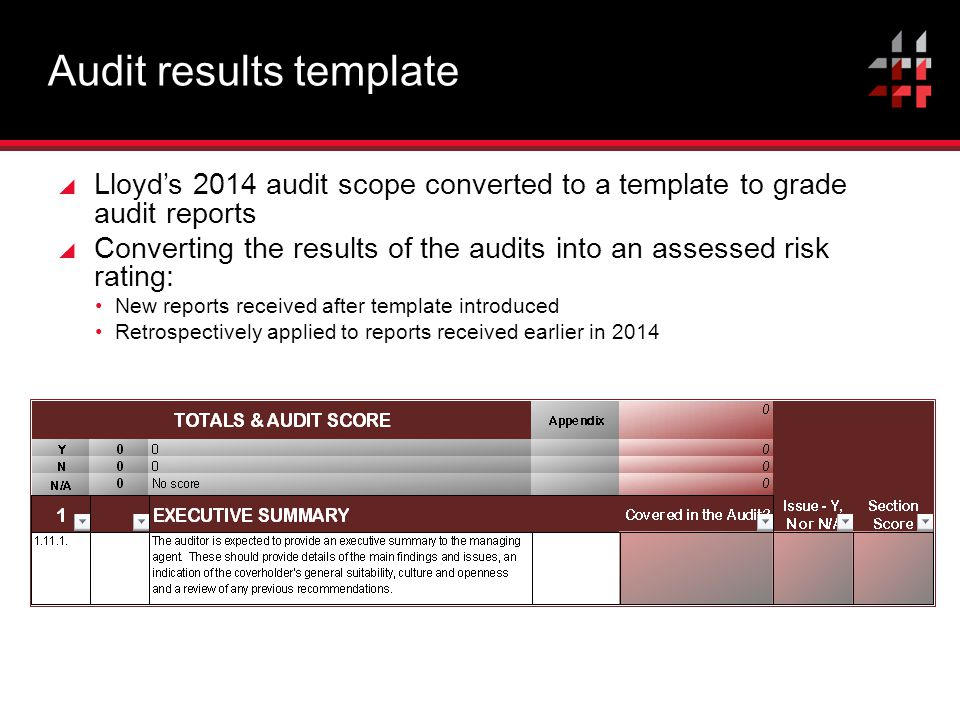 Audit results template