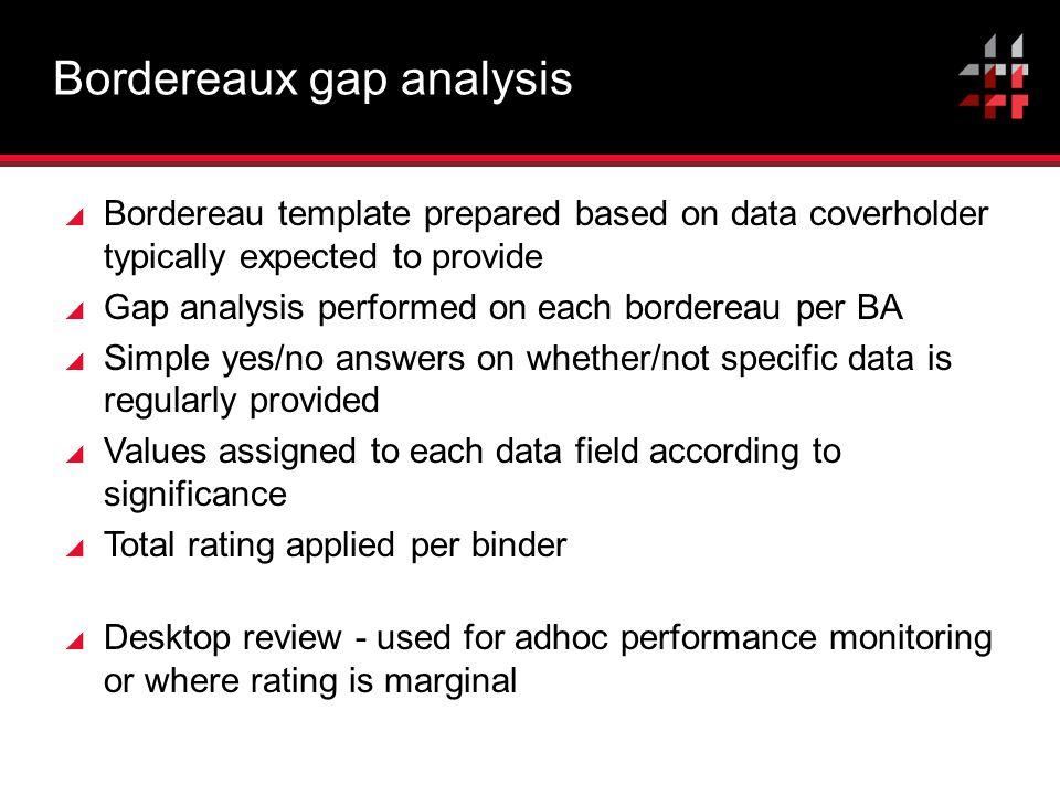 Bordereaux gap analysis
