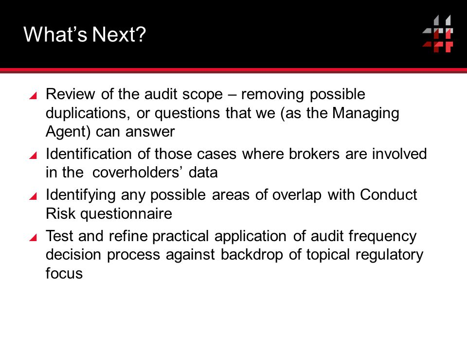 What's Next Review of the audit scope – removing possible duplications, or questions that we (as the Managing Agent) can answer.
