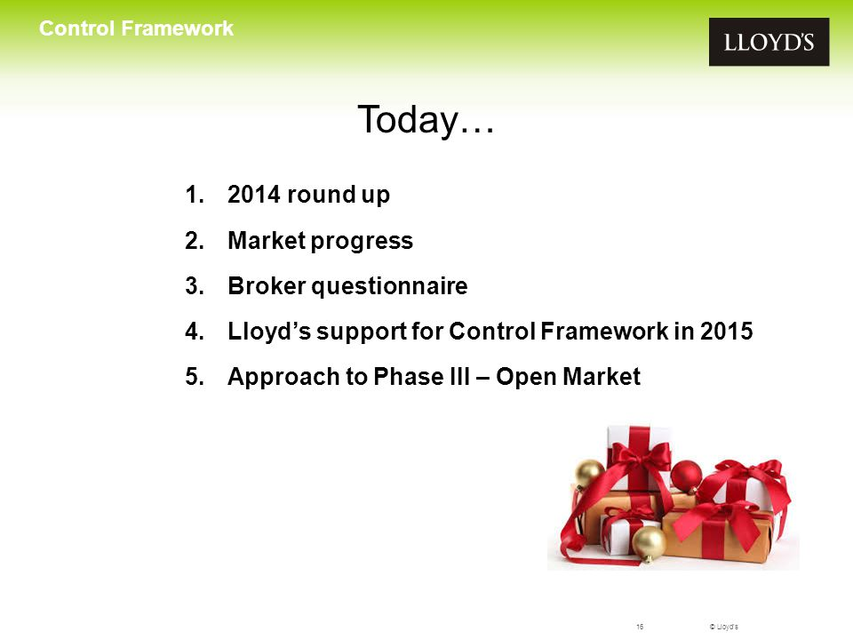Today… 2014 round up Market progress Broker questionnaire