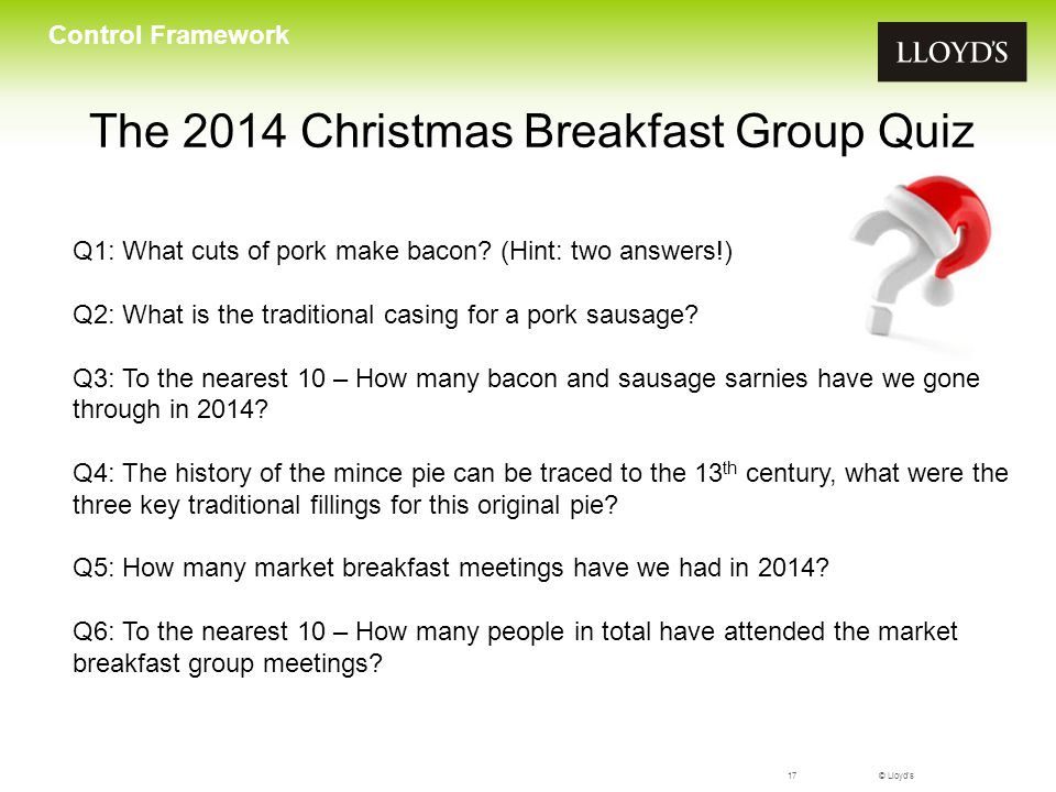 The 2014 Christmas Breakfast Group Quiz