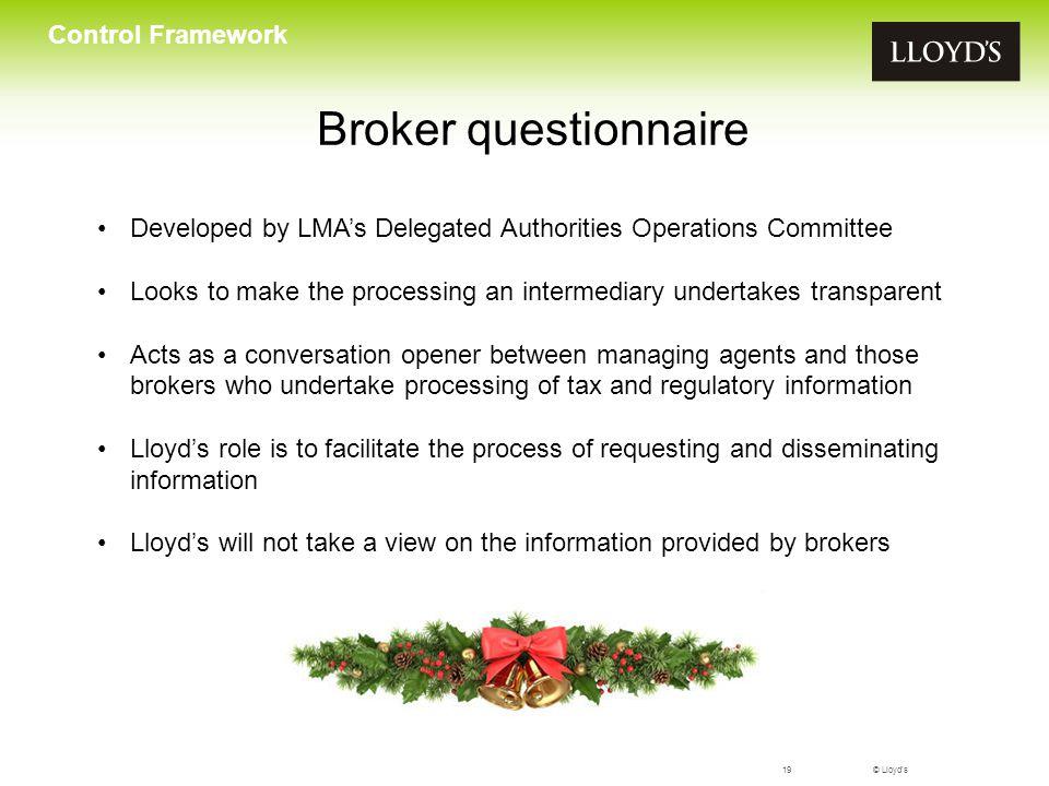 Broker questionnaire Control Framework