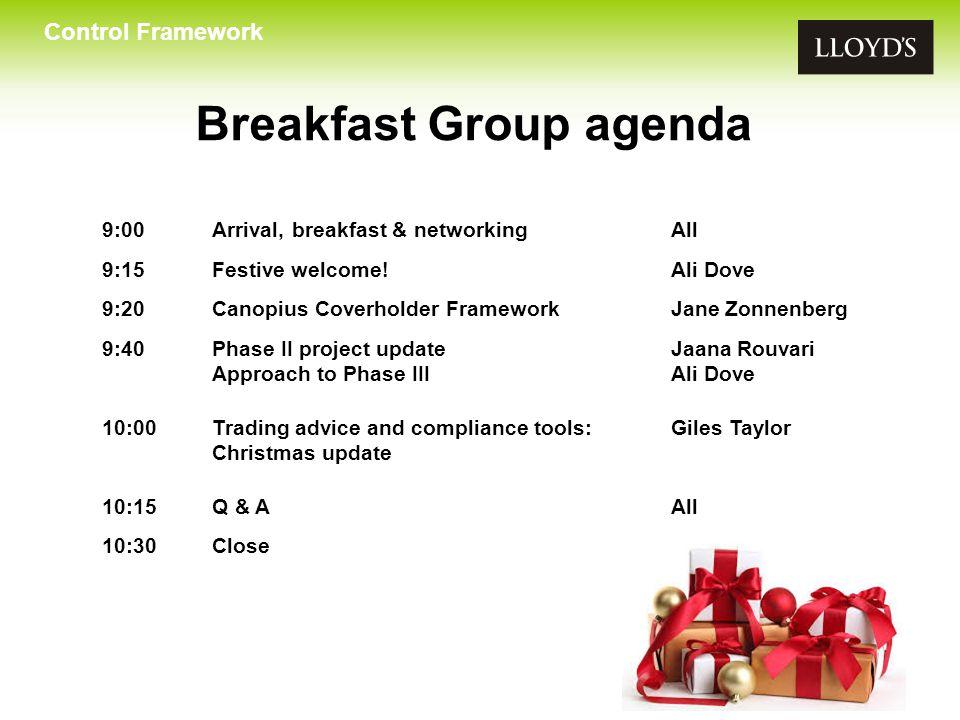 Breakfast Group agenda
