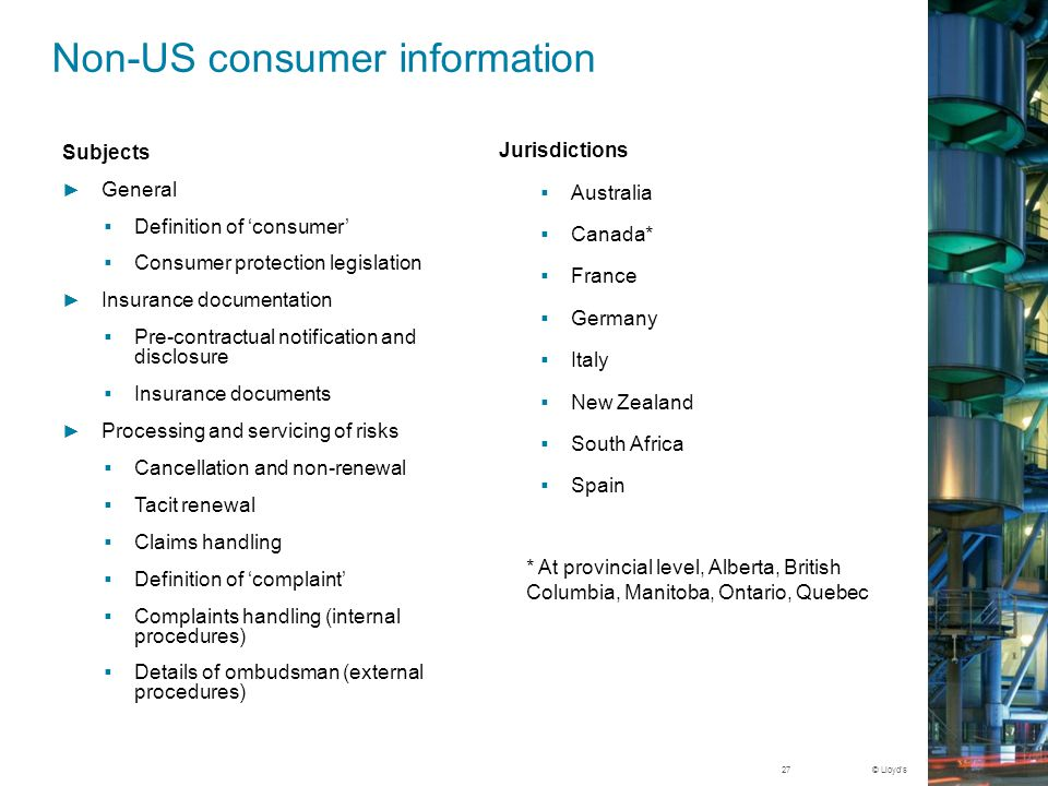 Non-US consumer information