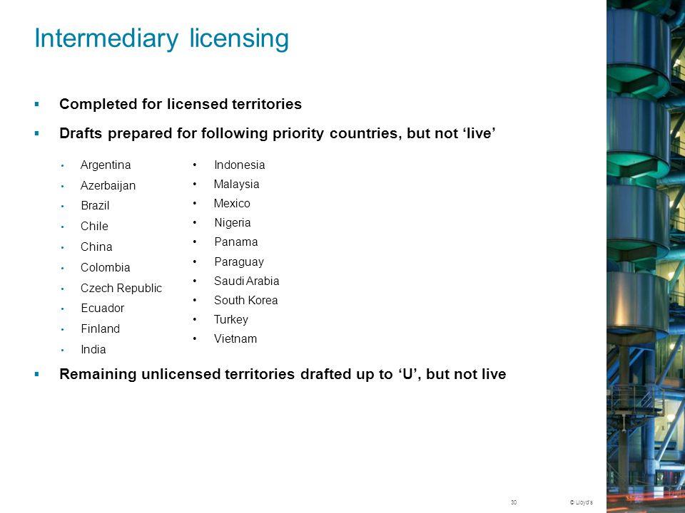 Intermediary licensing