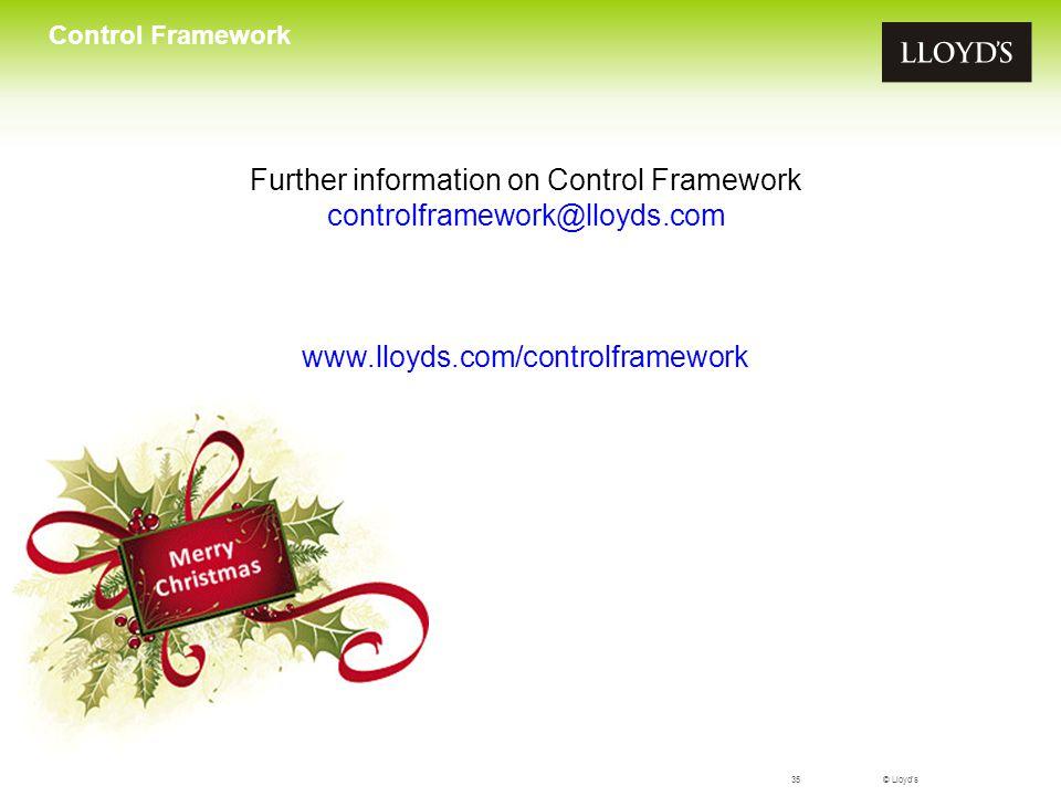Further information on Control Framework controlframework@lloyds.com