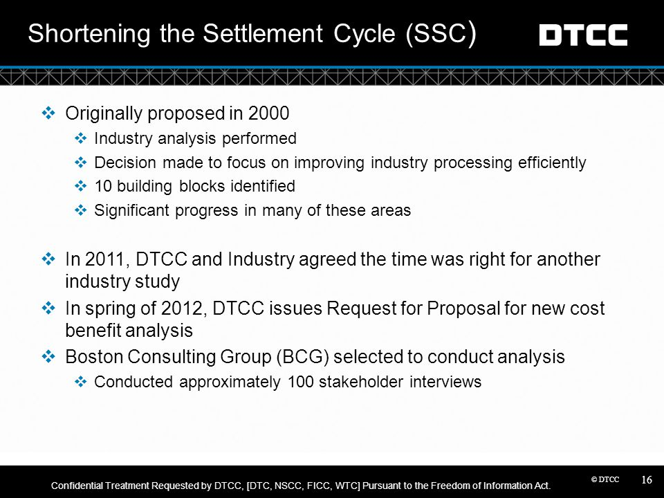 Shortening the Settlement Cycle (SSC)