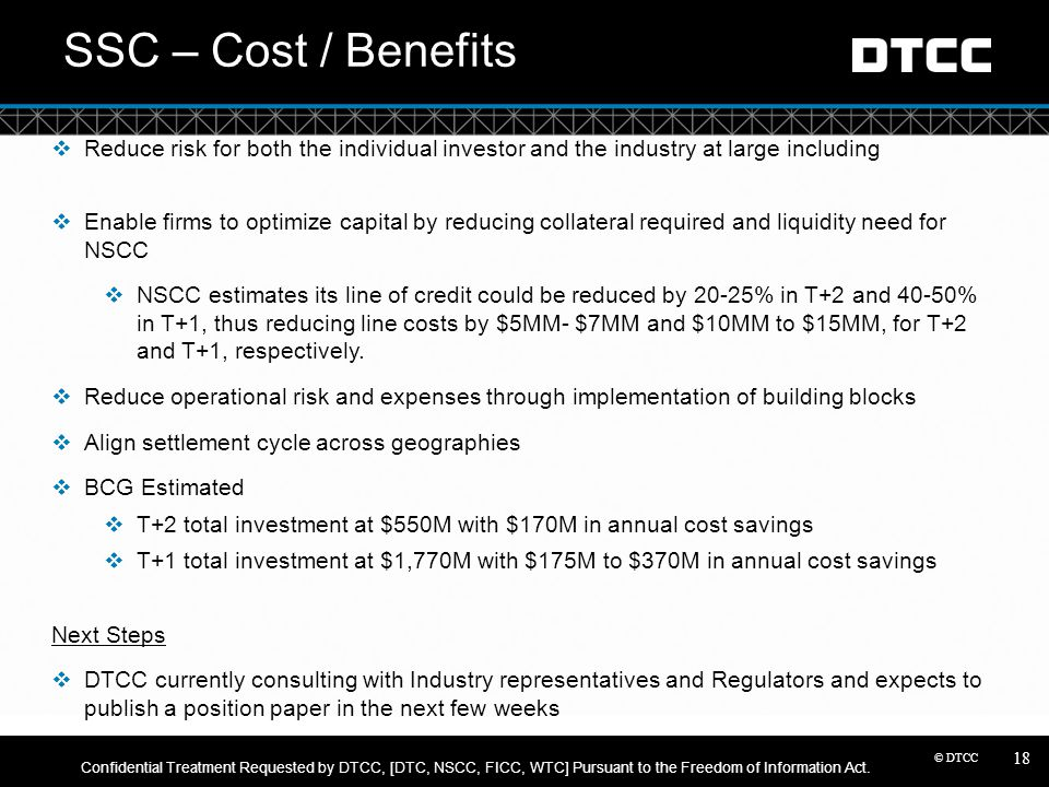 SSC – Cost / Benefits Reduce risk for both the individual investor and the industry at large including.