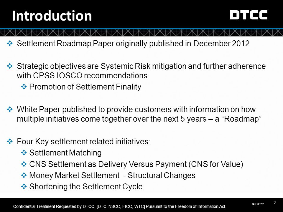 Introduction Settlement Roadmap Paper originally published in December 2012.