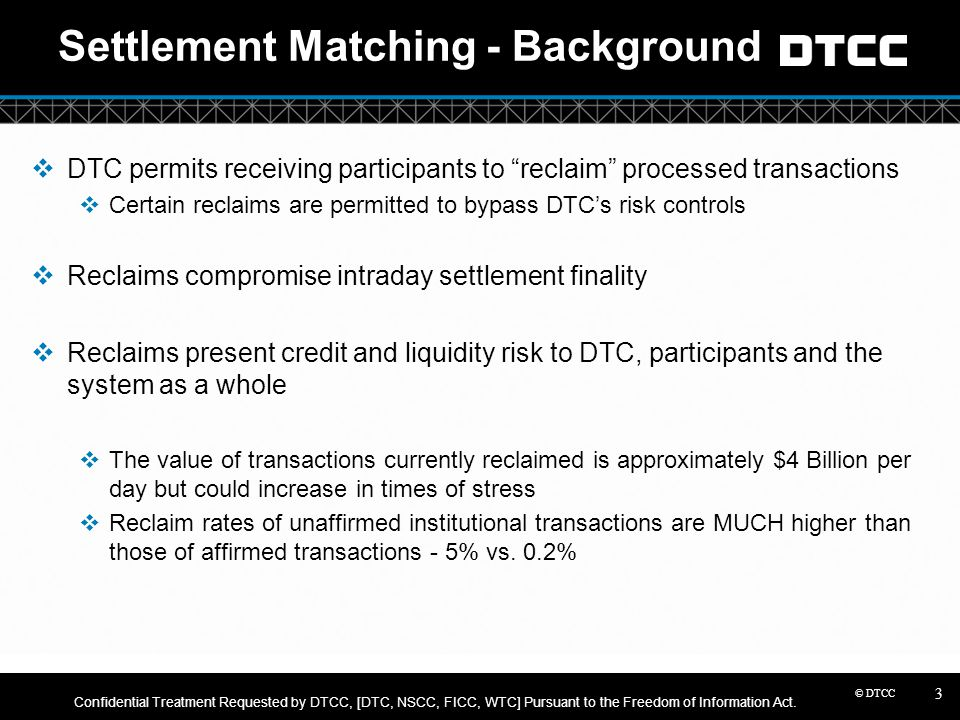 Settlement Matching - Background
