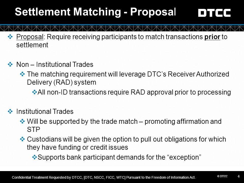 Settlement Matching - Proposal