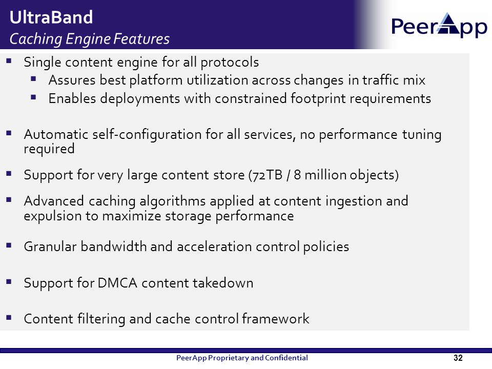 UltraBand Caching Engine Features