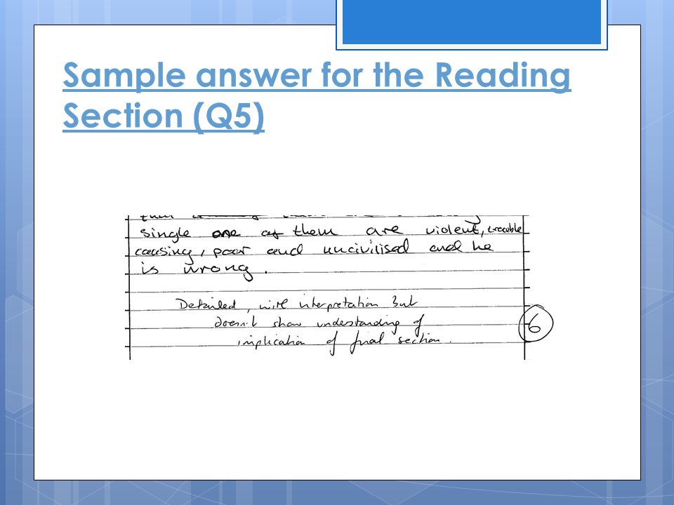 Sample answer for the Reading Section (Q5)