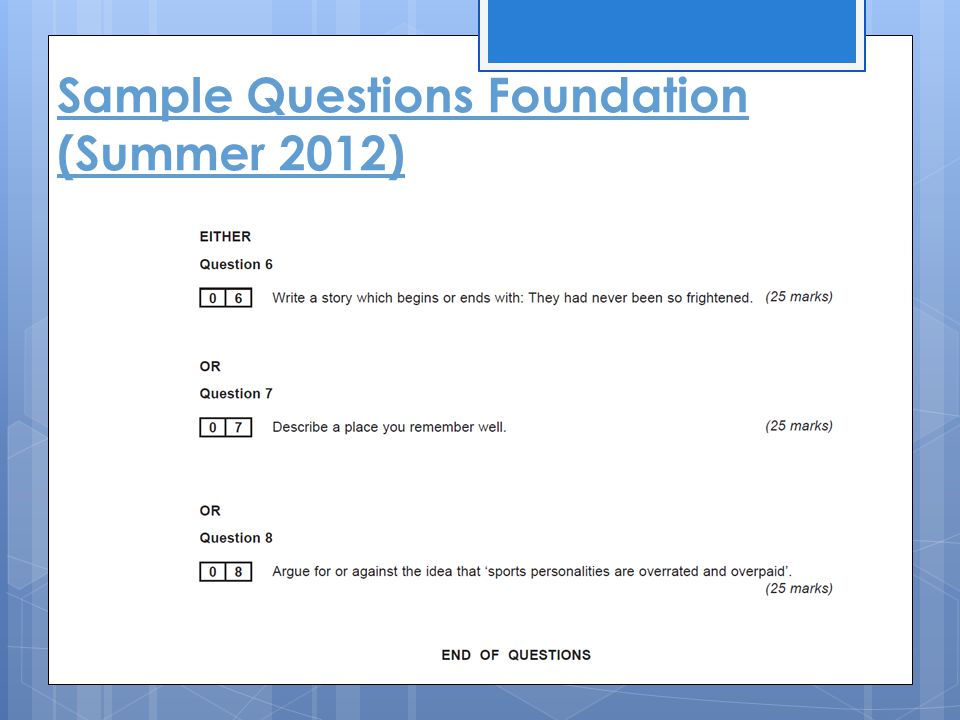 Sample Questions Foundation (Summer 2012)