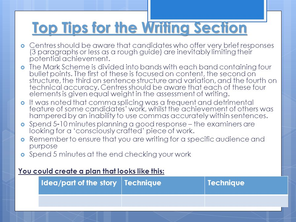Top Tips for the Writing Section