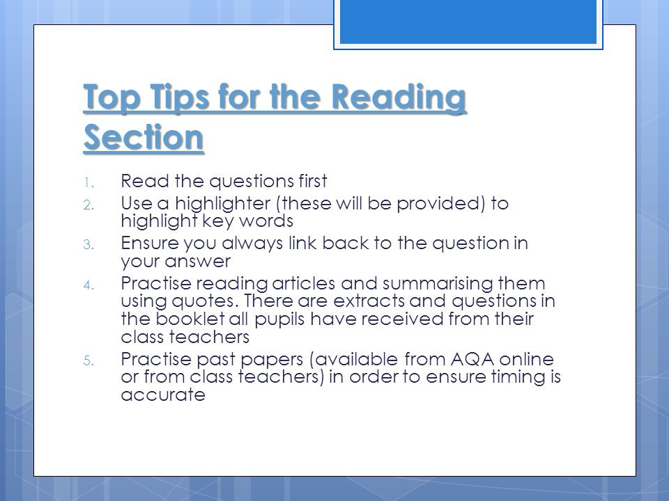Top Tips for the Reading Section
