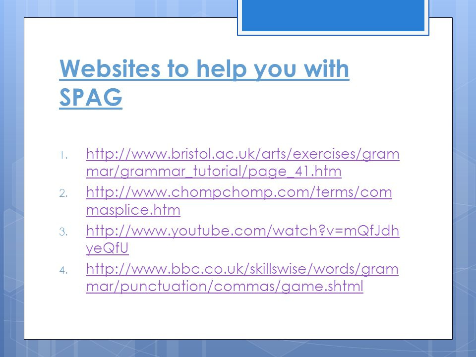 Websites to help you with SPAG