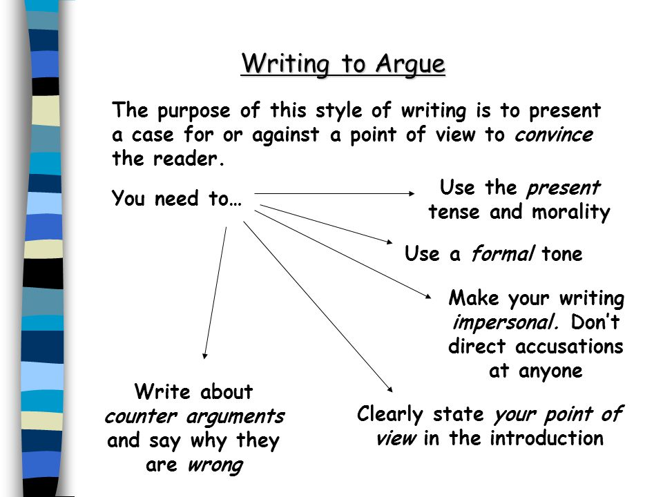 Writing to Argue The purpose of this style of writing is to present a case for or against a point of view to convince the reader.
