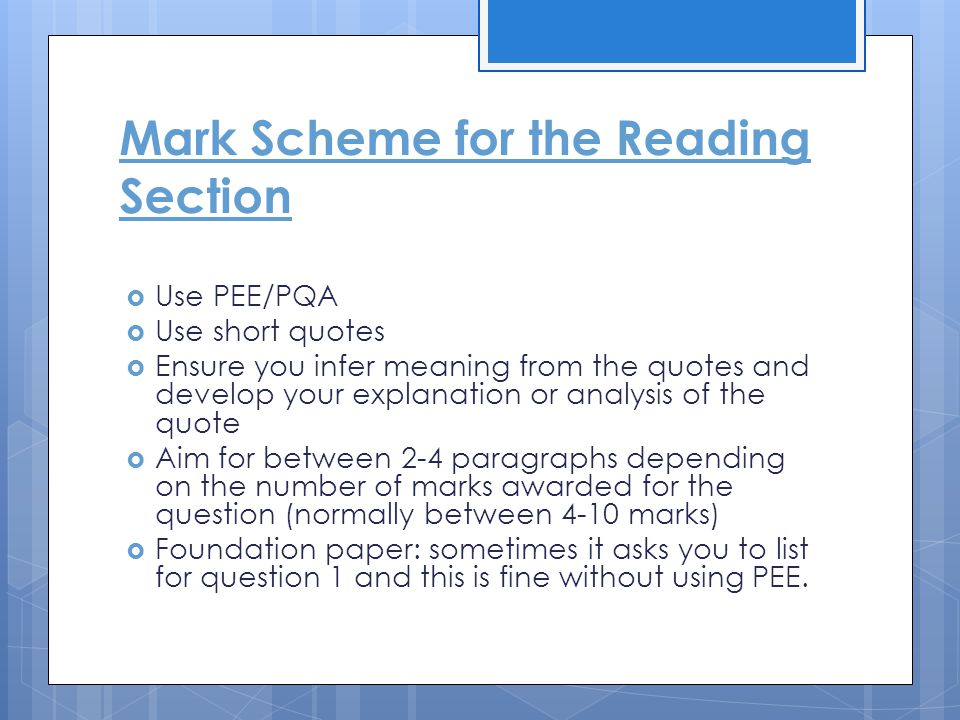 Mark Scheme for the Reading Section