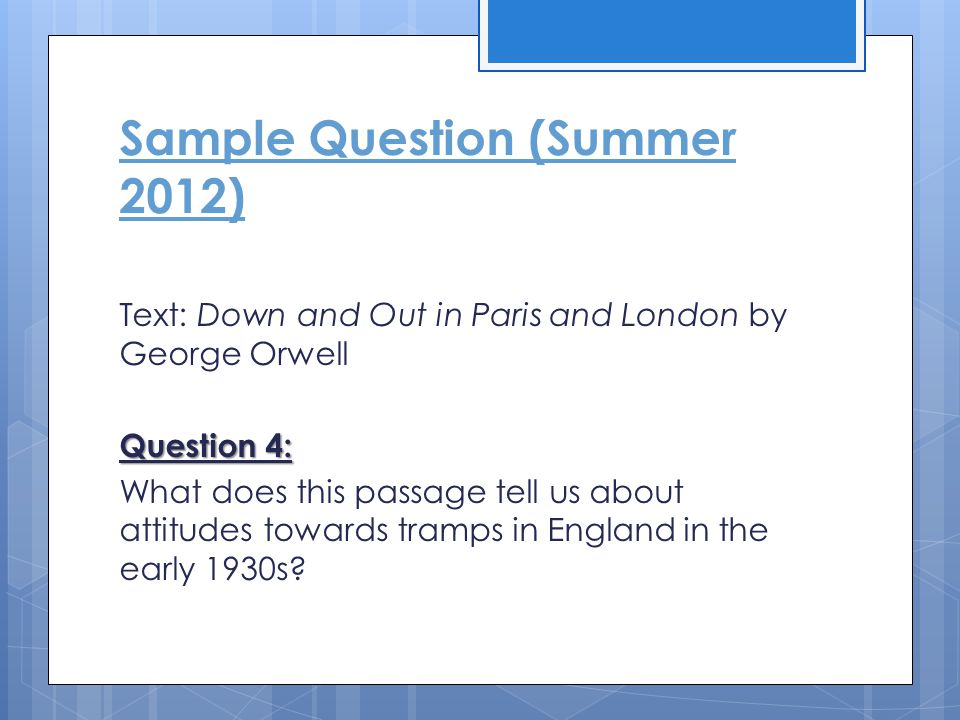 Sample Question (Summer 2012)