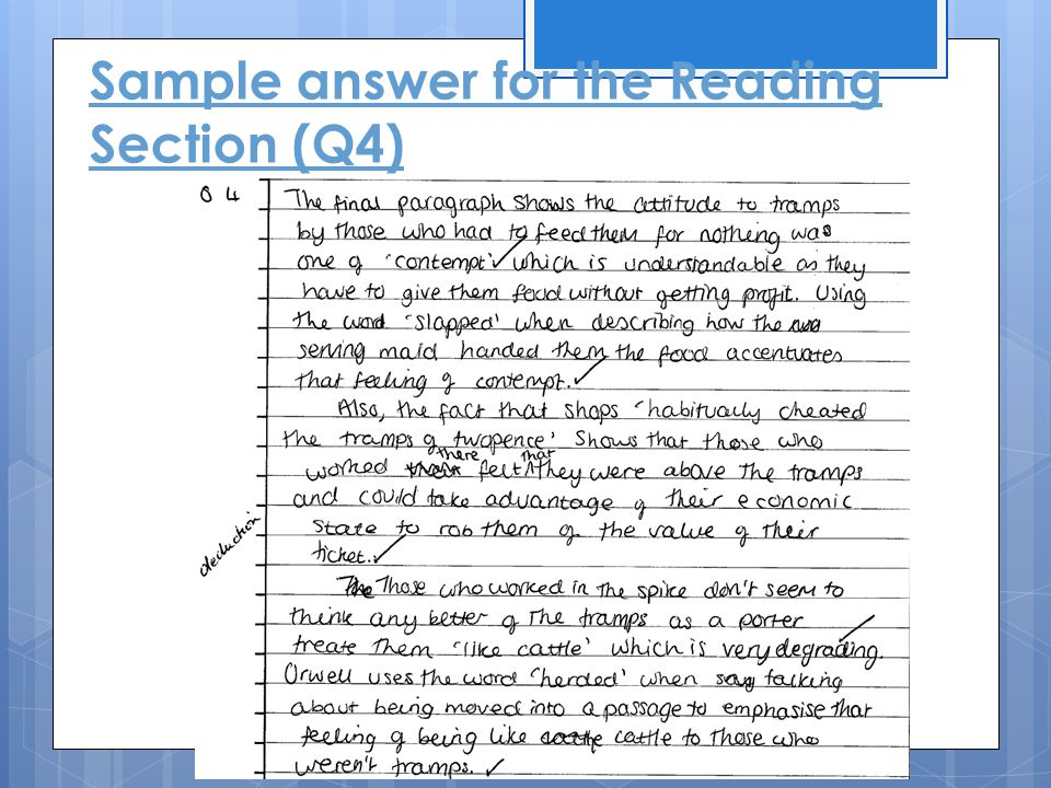 Sample answer for the Reading Section (Q4)