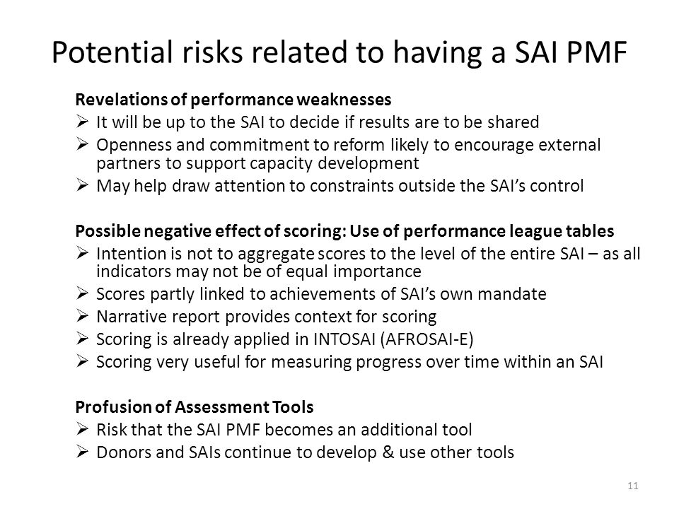 Potential risks related to having a SAI PMF