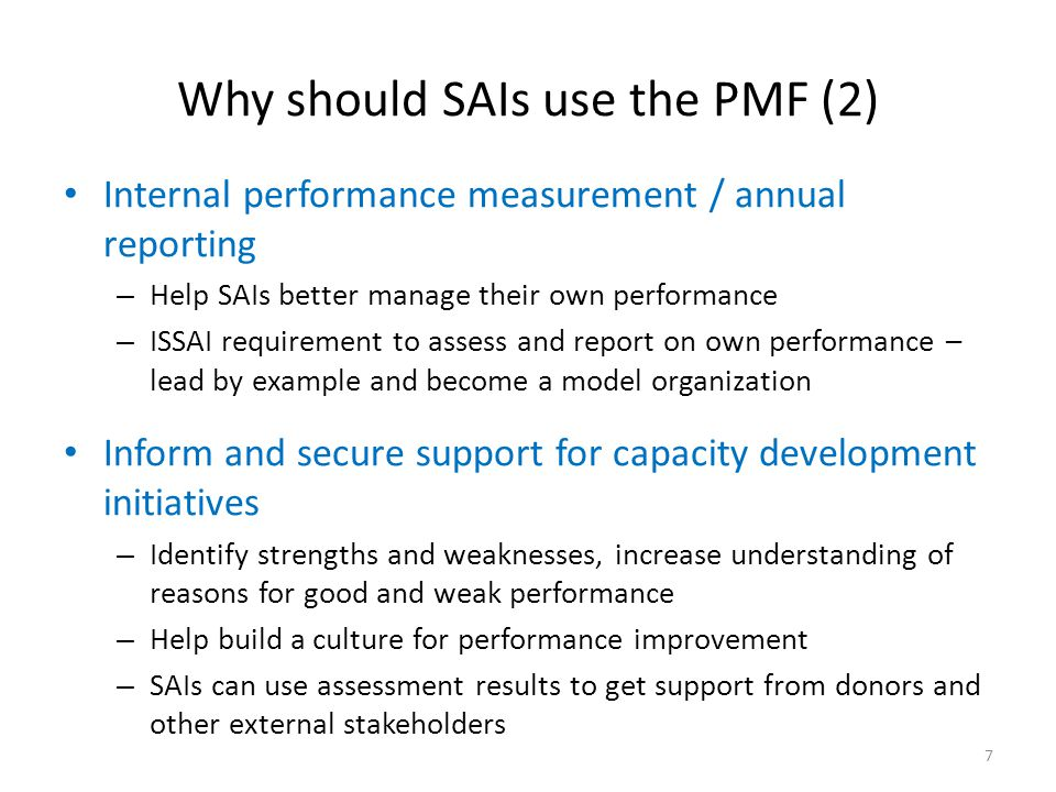 Why should SAIs use the PMF (2)