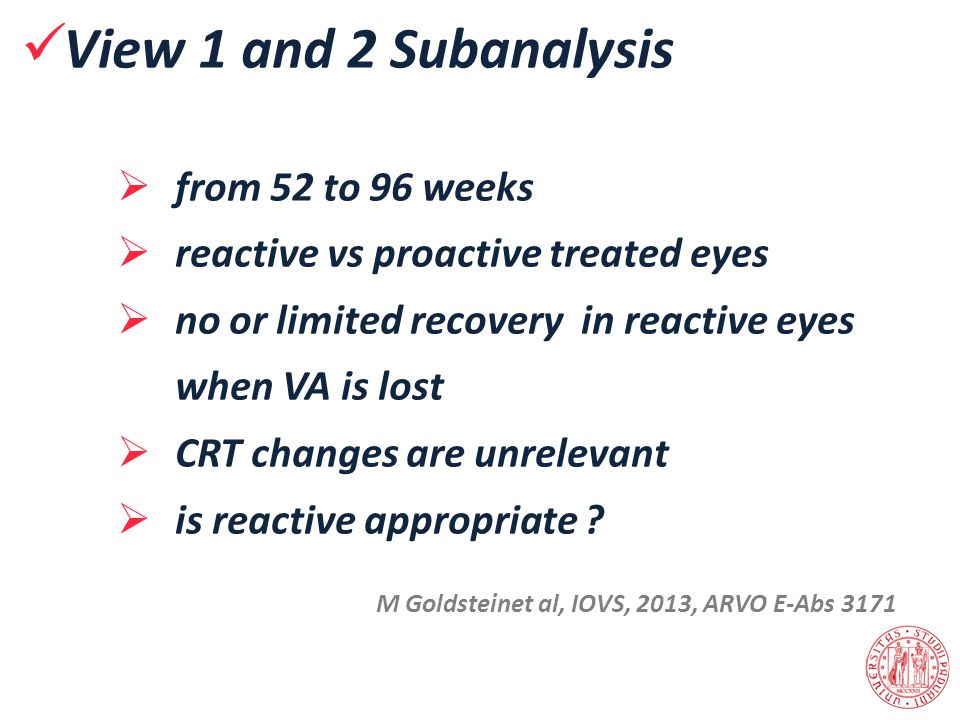View 1 and 2 Subanalysis from 52 to 96 weeks