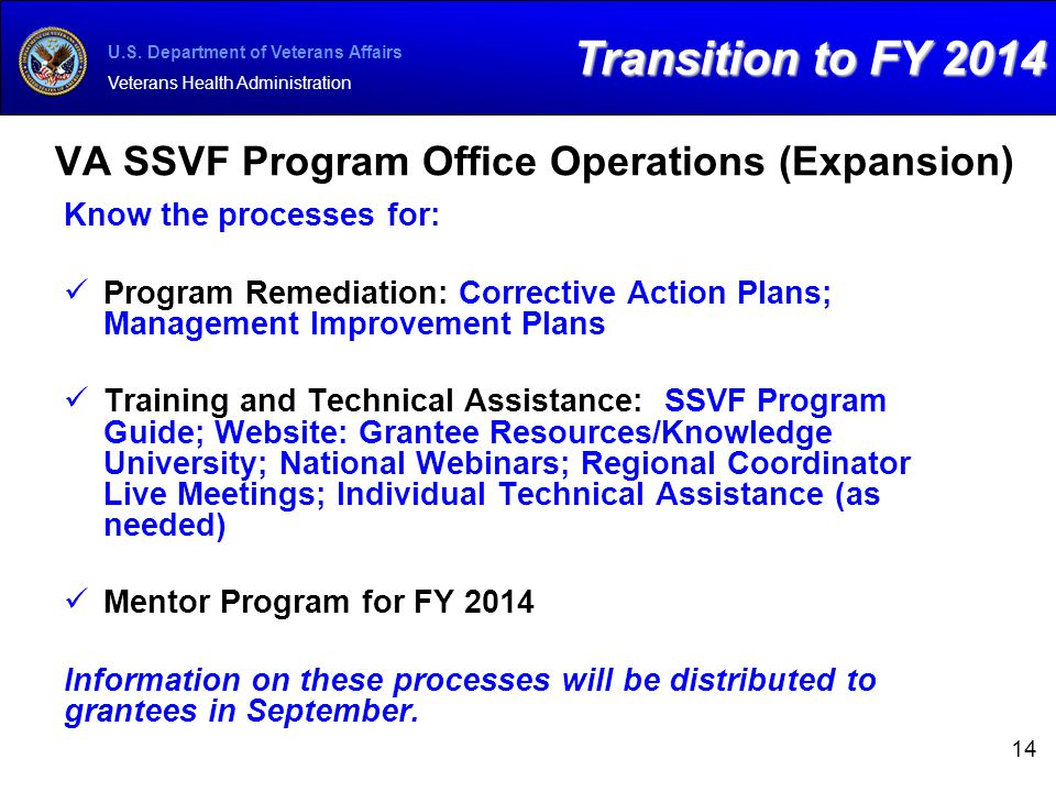 VA SSVF Program Office Operations (Expansion)