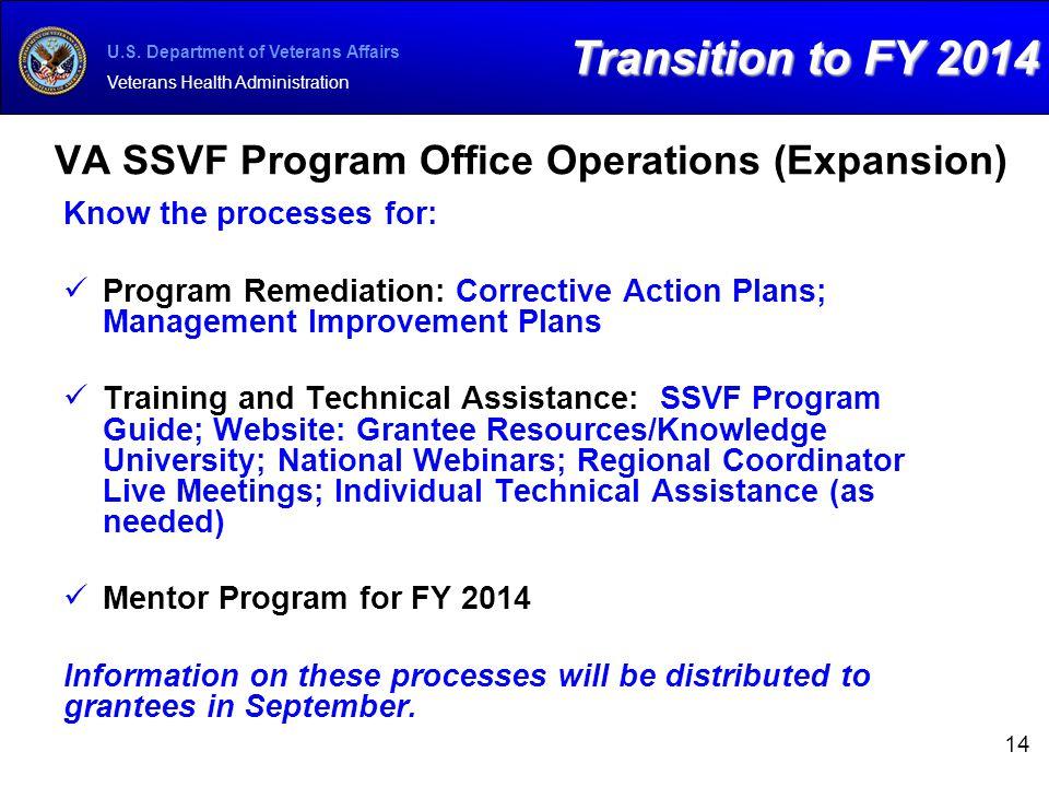 VA SSVF Program Office Operations (Expansion)