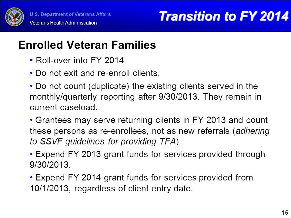 Transition to FY 2014 Enrolled Veteran Families Roll-over into FY 2014