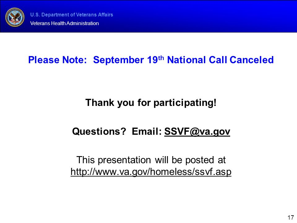 Please Note: September 19th National Call Canceled
