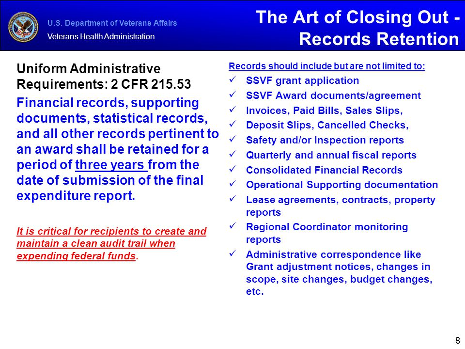 The Art of Closing Out - Records Retention