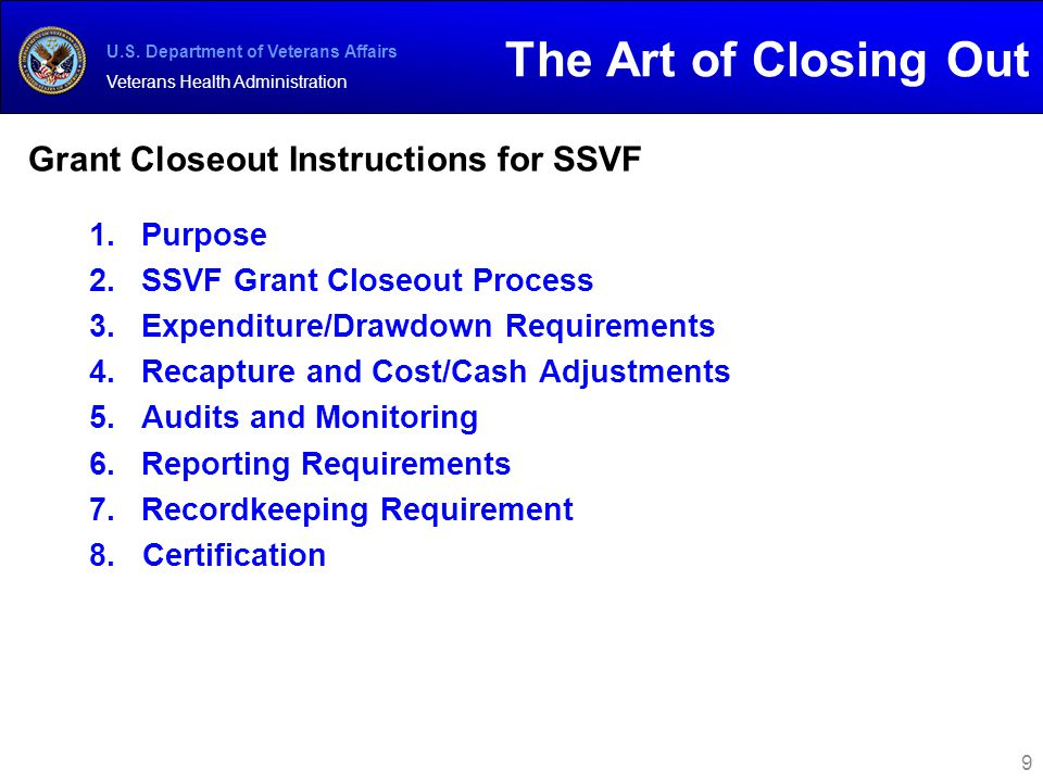 Grant Closeout Instructions for SSVF