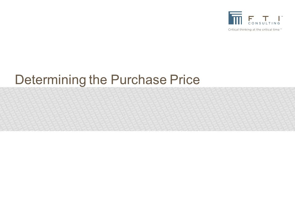 Determining the Purchase Price