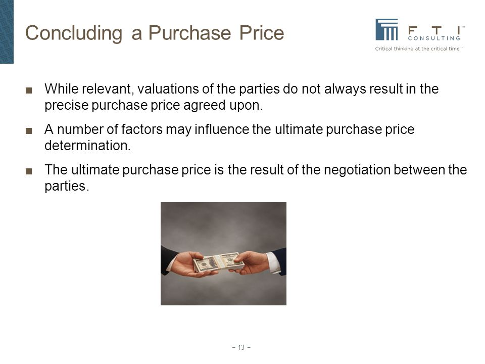 Concluding a Purchase Price