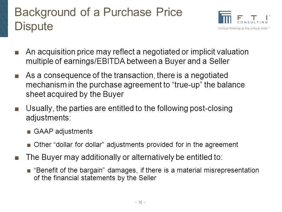 Background of a Purchase Price Dispute