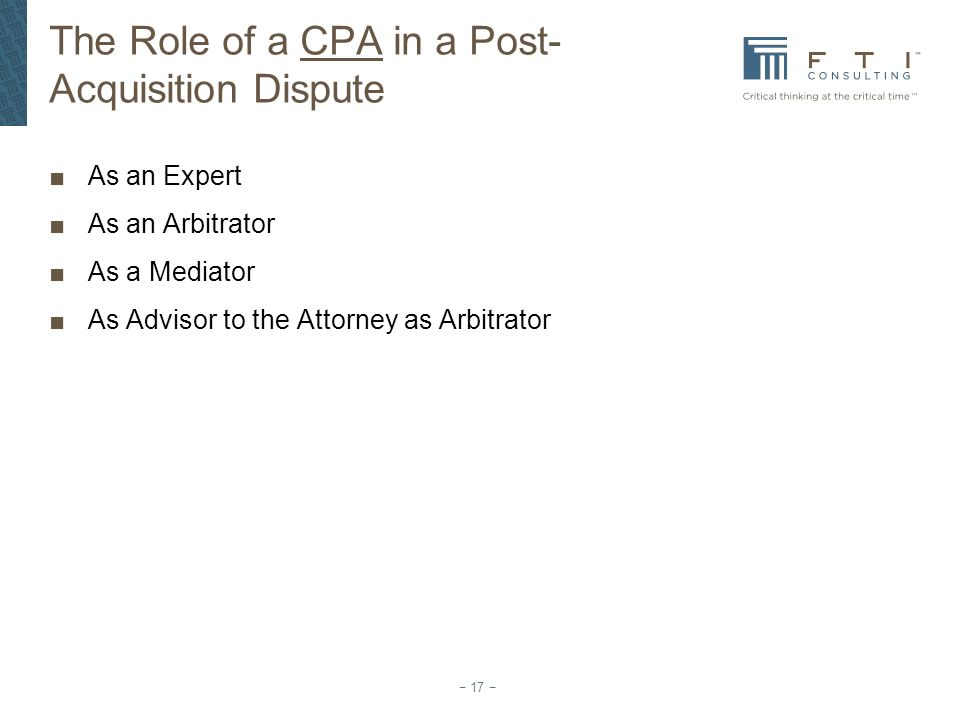 The Role of a CPA in a Post-Acquisition Dispute