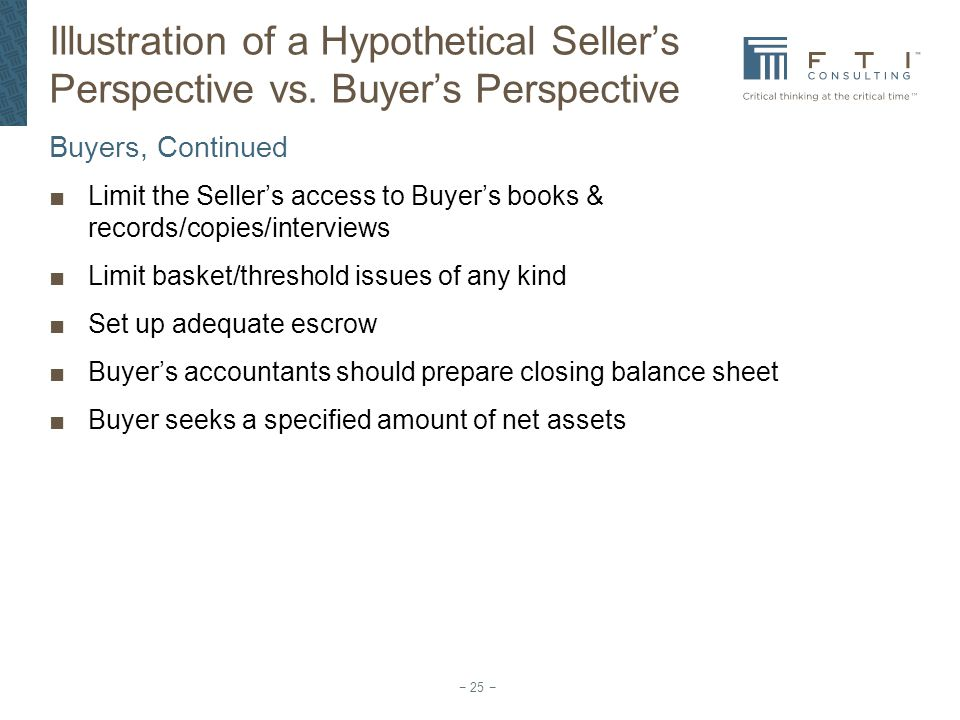 Illustration of a Hypothetical Seller's Perspective vs
