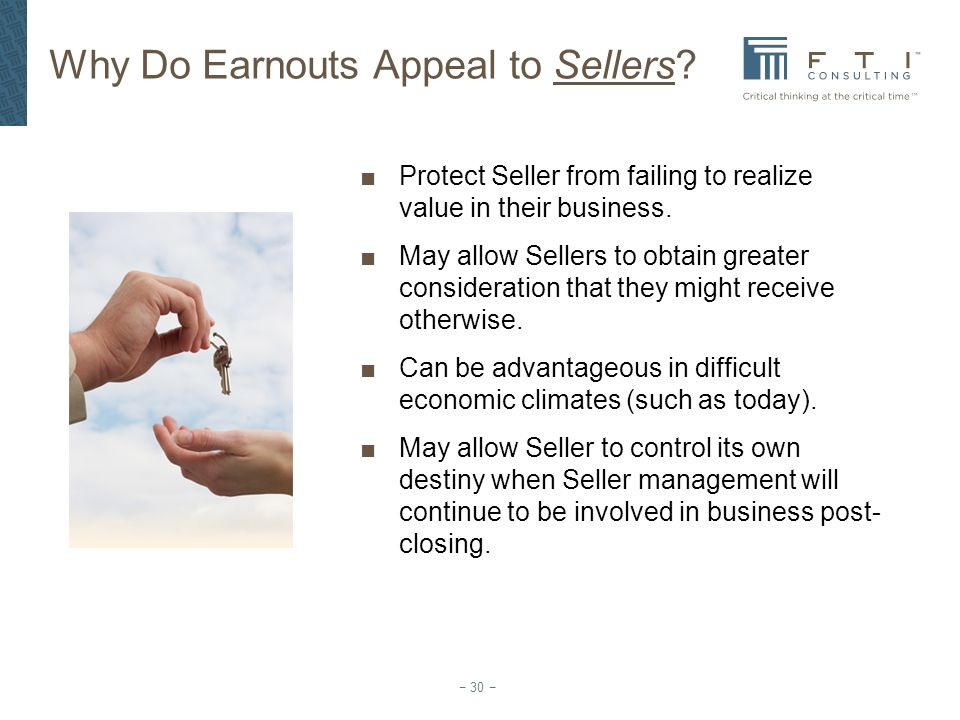 Why Do Earnouts Appeal to Sellers