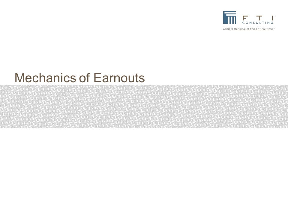 Mechanics of Earnouts