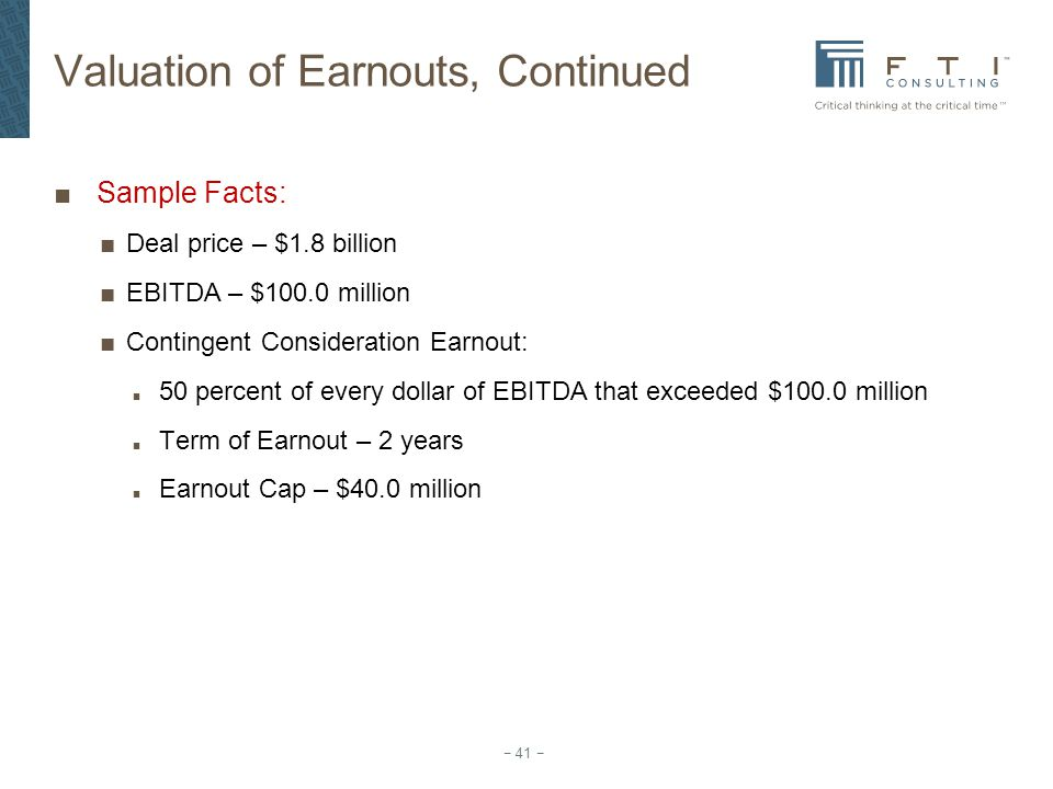 Valuation of Earnouts, Continued
