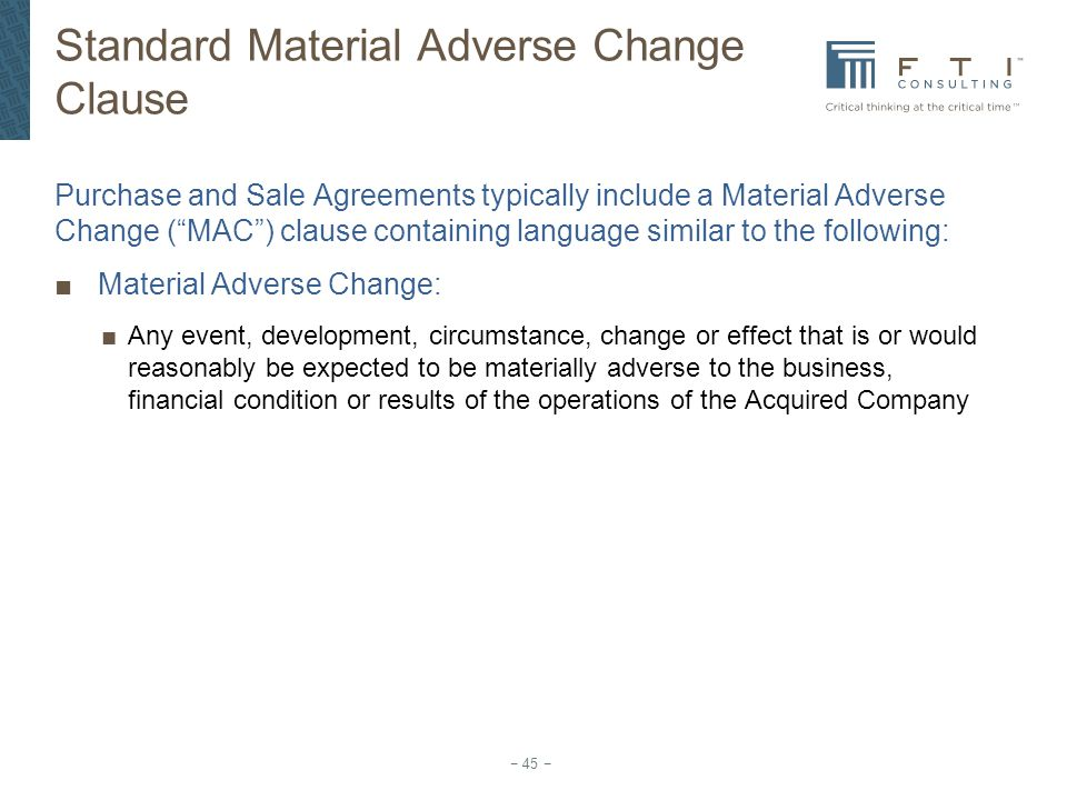 Standard Material Adverse Change Clause