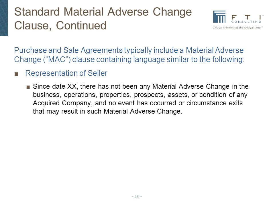 Standard Material Adverse Change Clause, Continued