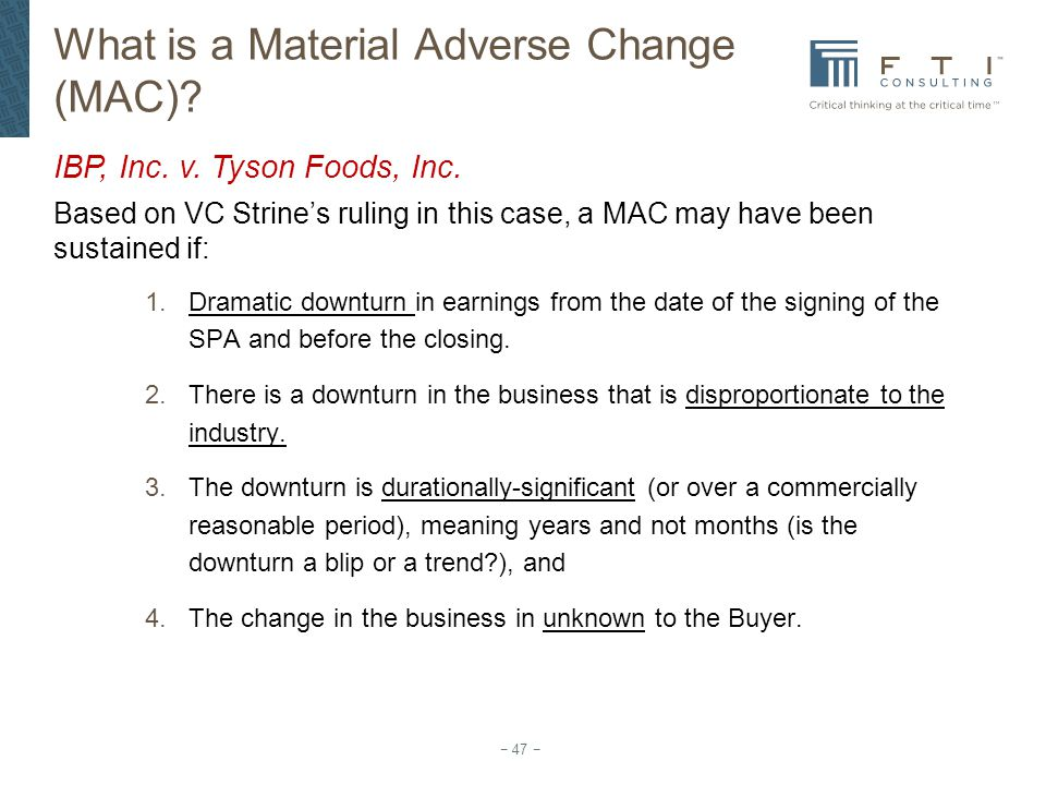 What is a Material Adverse Change (MAC)